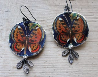Monarch Butterfly Earrings, Vintage Tin Earrings, Statement Earrings, Soldered Hammered Leaves and Flowers, Sterling Silver