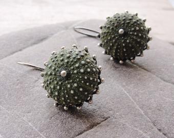 Sterling Silver Sea Urchin Earrings, Dangle Urchin Earrings, Special Green Earrings
