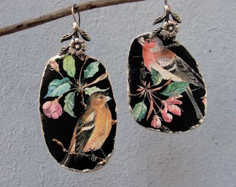 Vintage Tin Earrings Asymmetrical Bird Earrings Sterling Silver Statement Earrings Soldered Hammered Birds and Leaves