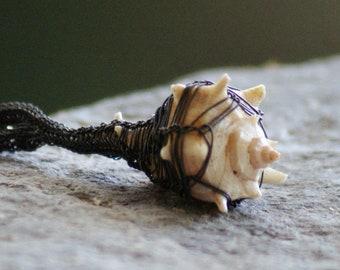 Caged Seashell Necklace Sterling Silver Kazaziye Handwoven Fine Silver Jewelry