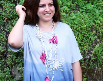 Express Yourself Statement Necklace, Magenta and White Butterfly Necklace