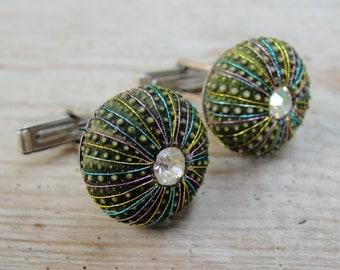 Sea Urchin Cufflinks, Sterling Silver, Green, Rainbow, Sea lover, Sailor, Captain Cuff links