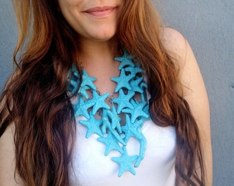 Starfish Mermaid Statement Necklace, Teal Starfish Coral Necklace, Sea Lover