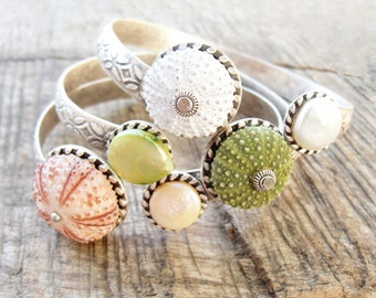Sea Urchin Collection - Elegant Sea Urchin and Pearl Cuff - Pick Your Color - Pink Green White