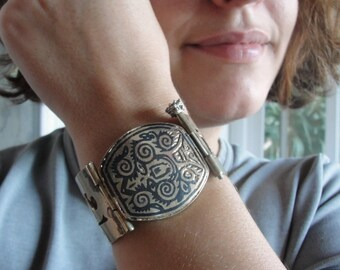 Mystical Niello Cuff, Tribal Infusion, Vintage Handmade Alpaca Kuchi Bracelet
