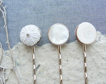Sea Urchin Bobby Hair Pins set of three Sea urchin, Mother of Pearl and Shell