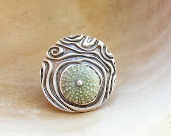 Sea Urchin Ring - Wood grain and Sea Urchin