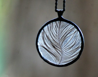 Organic Feather Necklace Vintage Watch glass, Ostrich feather, metal, solder