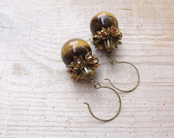 Tigers Eye Earrings - Stone, Crystal and Brass