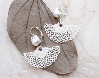 Needle lace  Earrings Bridal Pearl Earrings Marie Antoinette style