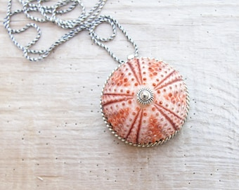 Pink Sea Urchin Necklace Sterling Silver Necklace Beach Jewelry, Natural Sea Treasure