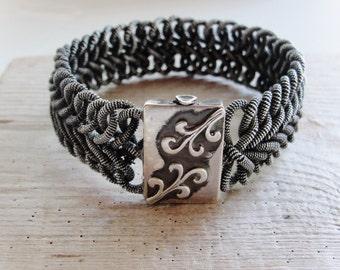 Woven Sterling Silver Bracelet Heringbone style Oxidized Sterling Silver jewelry