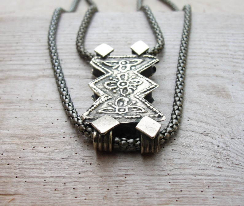 Tribal Ethnic Vintage Upcycled Statement Piece Modern Tribe Necklace