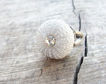 Sea Urchin Ring - Sterling Silver White Sultan Ring