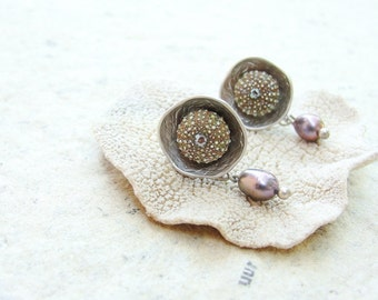 Sea Urchin Post Earrings with Pearls, Lightweight mermaid jewels