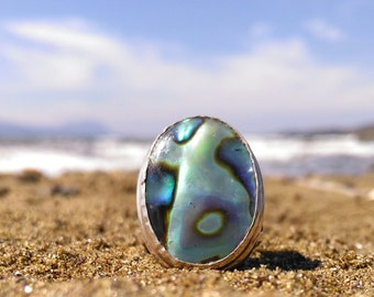 Sterling Silver Abalone Ring Seashell Ring US size 10 Peacock Colors