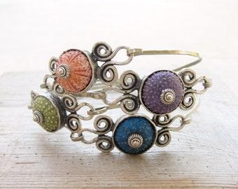 Sea Urchin Bangle Bracelet, Beach Jewelry, Pick Your Color, Pink Green Blue Purple