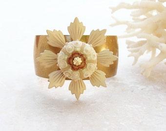 Sputnik Sea Urchin Cuff Enamel Vintage Flower Bracelet