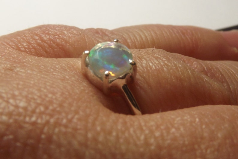 pretty perfect gift MOTHERS DAY SALE Aaa genuine Ethiopian Welo Opal Silver ring Size 9 feminine