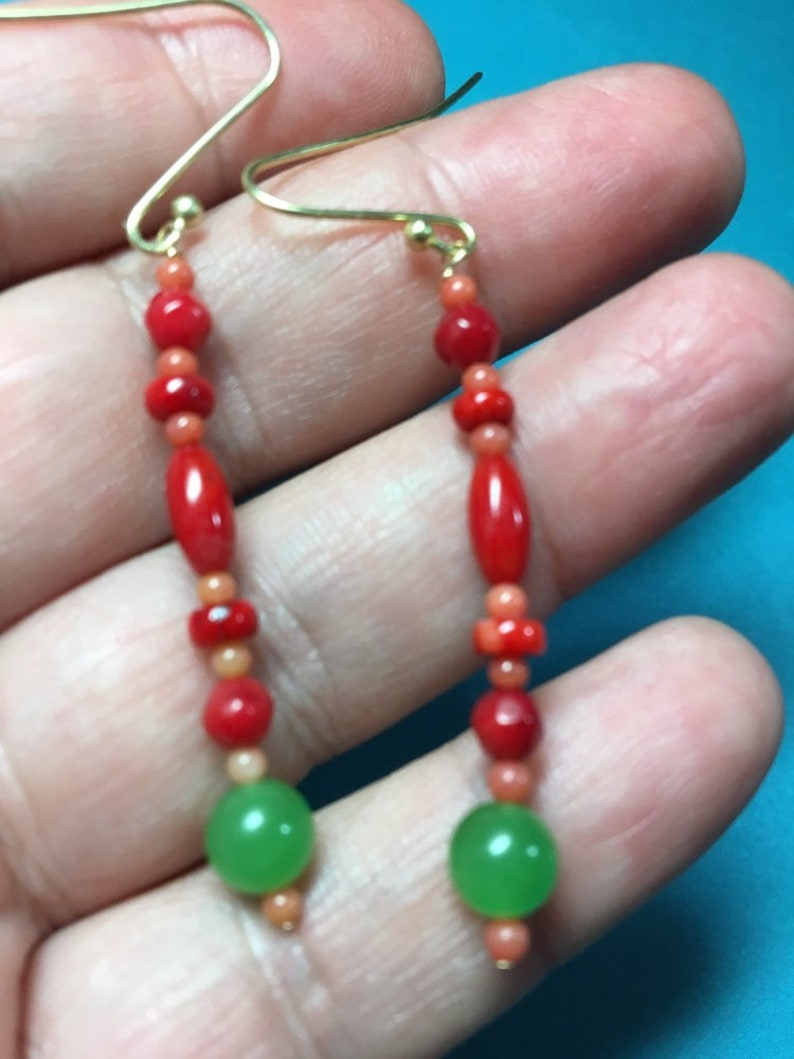 unique designers earrings -long dangle Reiki healing MOTHERS DAY SALE Red coral and  imperial green jade earrings love -prosperity -