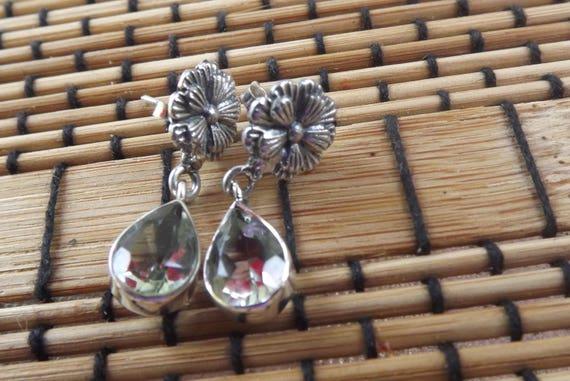 Green Prasiolite - Green Amethyst earrings- Good F