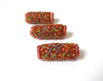 Embroidered Fabric Beads with Flowering Vines and Flowers Made From a Ginger Shot Cotton Fabric. Fiber Art, Textile Art, Jewelry and Beading