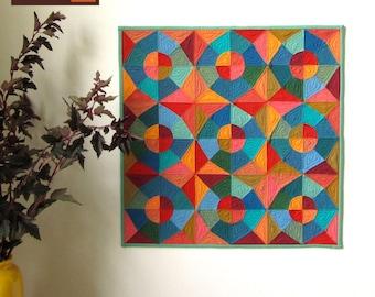 Pdf Quilt Pattern - Circles and Stars English Paper Pieced Quilt Pattern - EPP Quilt Pattern - Modern Quilt Pattern - PDF File