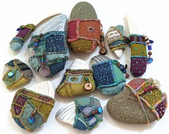 Objects of Comfort Talismans PDF Tutorial Pattern - Hand Stitched One-of-a-Kind Talismans from Stones, Shells and Fabric.