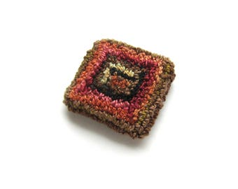 Abstract Brooch - Embroidered Brooch - Textile Jewelry Pin  - Fiber Art Brooch - Handmade Brooch - Needle Punch - Punch Needle Brooch Pin