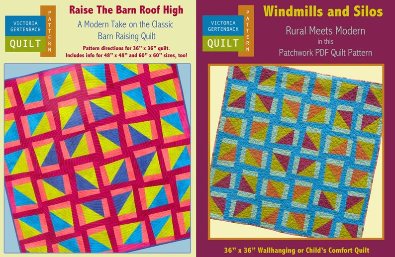 Two PDF Quilt Patterns. Raise The Barn Roof High and Windmills image 0