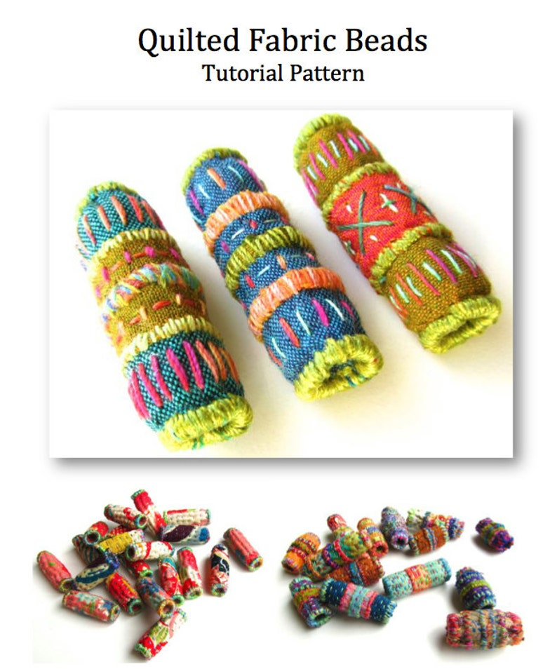 Quilted Fabric Beads PDF Tutorial Pattern. Embroidery Bead image 0