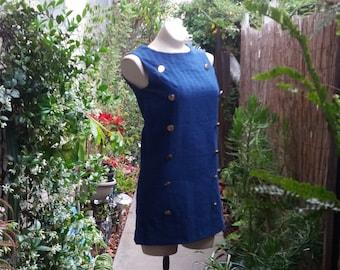 Shiny Buttons Vintage Mini Dress