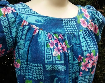 Blue Hawaii Vintage Barkcloth Dress