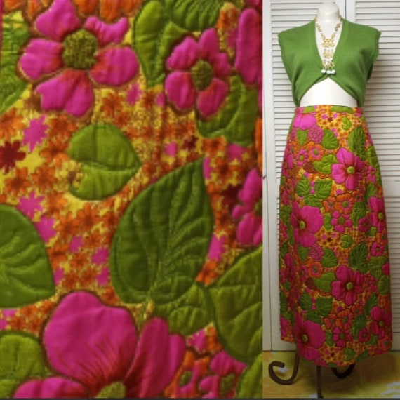Psychedelia in Silk Vintage 1960s Quilted Maxi Ski