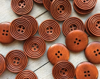 6 x 23mm Brown Marbled Round Plastic Buttons BVJ105
