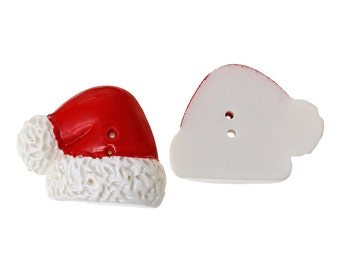 """Christmas Buttons SALE (B67) 3 Santa Hat Buttons 1"""" tall Resin Button for Sewing Crochet Knitting Crafting Scrapbooks"""