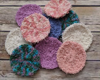 Cotton Face Scrubbies, exfoliating facial scrubbers, reusable cotton pads, deep clean eco 100% cotton exfoliating make up removal