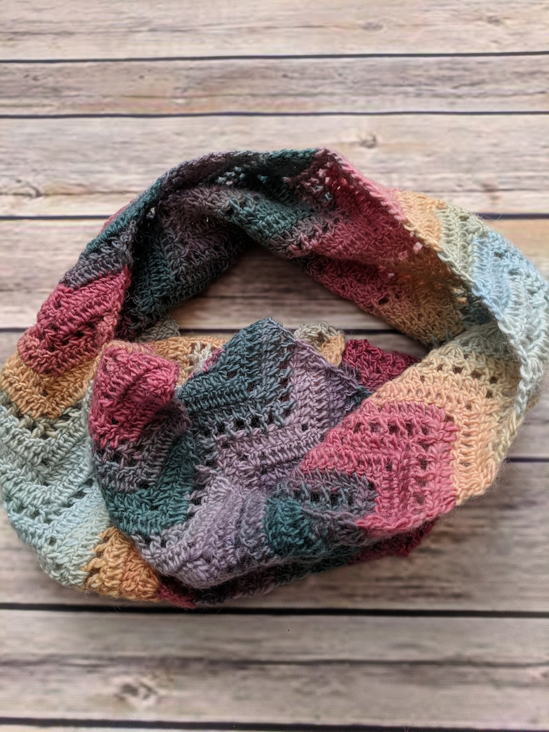 1b3439ce7 Crochet Wool Scarf in Jewel Tones Green Purple Pink and   Etsy