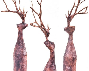 Untitled Tree Goddess - one of a kind tree spirit sculpture in paper mache