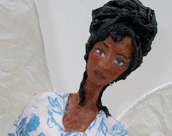 Angel tree topper - beautiful angel doll - ooak angel - one of a kind paper mache sculpture