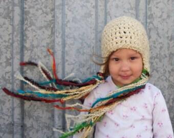 Rapunzel Hat in Latte - Long Ribbon Tassels for Girls, Tangled, Princess Winter Hat