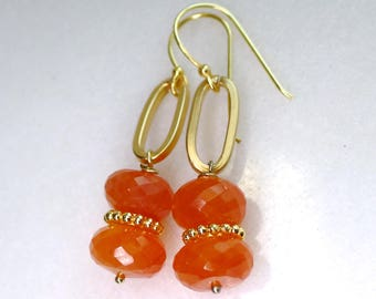 Pantone, 22kg Vermeil, Carnelian Tangerine Tango Faceted Earrings...