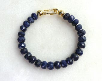 Royal Blue Sapphire LARGE Strand Simplicity Bracelet in Gold...