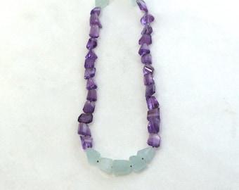 Sparkling Amethyst, Aquamarine Nugget Necklace in 22kg Vermeil...