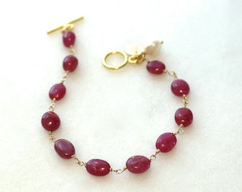 Supreme Pink Sapphire Polished Nugget Simplicity Bracelet in 14k Gold Fill...