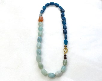 Any Which Way Aquamarine and Apatite Necklace in 22kg Vermeil...