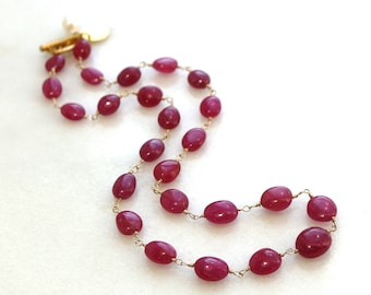 Supreme Pink Sapphire Linked Necklace in 14k Gold Fill...