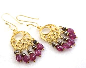 Pink Sapphire, Freshwater Pearl Gold Vermeil Chandelier Earrings...