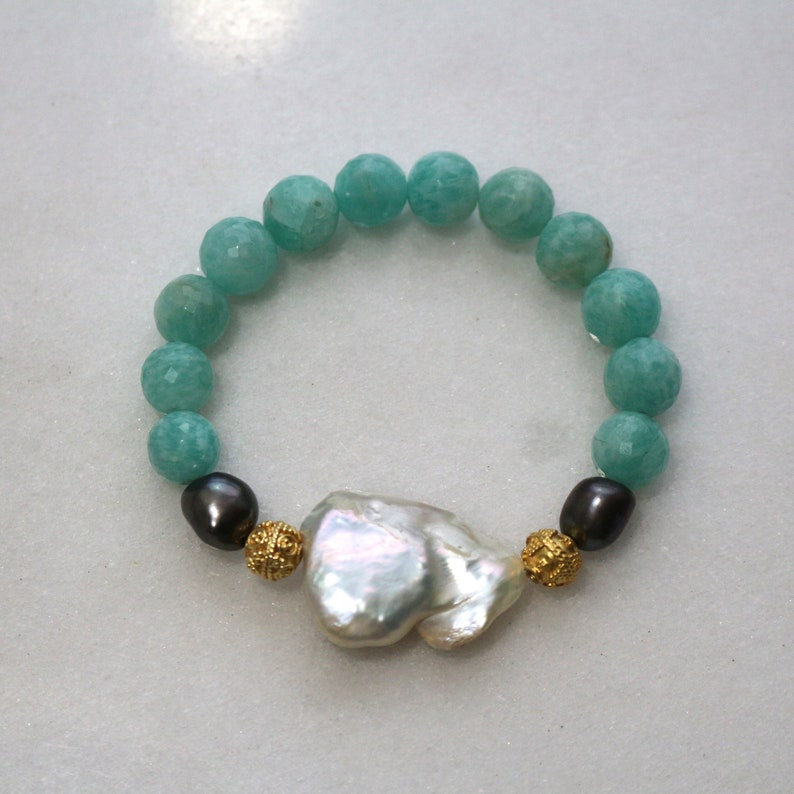 Little Luxe Simple Stacking Stretch Bracelet in Baroque Pearl and Amazonite...