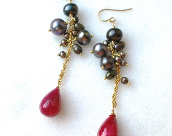 Natural Ruby, FW Ink Pearl Cluster Earrings in 14kg fill